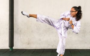 A Student of SIS doing a Karate move