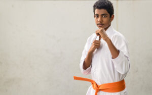 Photograph taken of a student practicing Karate