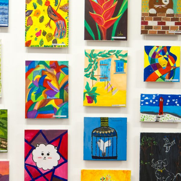 Various drawings painted by the students of SIS